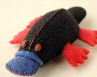 FELTED PLATYPUS TOY Black Red and Blue Handmade in Canada Pure Merino Wool