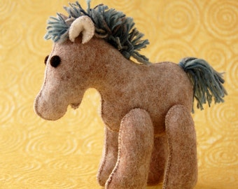 BEIGE Felt HORSE TOY Light Blue Mane -- Pure wool animal felted toy -- Baby shower gift or horse collection unique