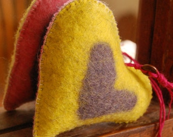 HEART Felted Hand Made Home Ornament - Unique Pure Wool PINK YELLOW and Lilac -  Aromatherapy Lavender Filled