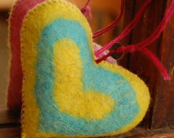 Felted HEART Handmade Pure Wool Handmade FELT Yellow Pink and Turquoise Home Ornament