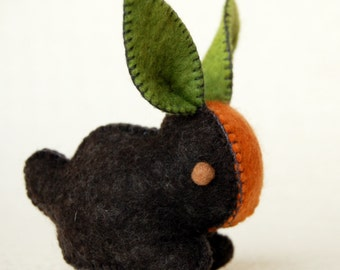 Black Carrot Bunny Rabbit -- Handmade FELTED TOY ANIMAL -- Eco Friendly Pure Wool