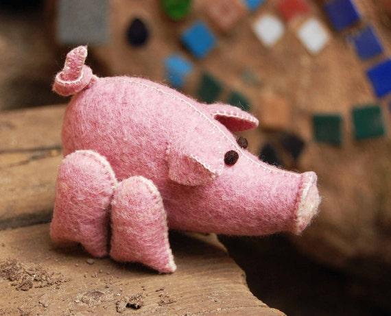 Pig Toy OOAK Handmade Felt Pure Wool