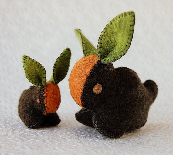 GREY Felt CARROT Mother and Baby Bunnies Natural Materialsl Handmade in CANADA
