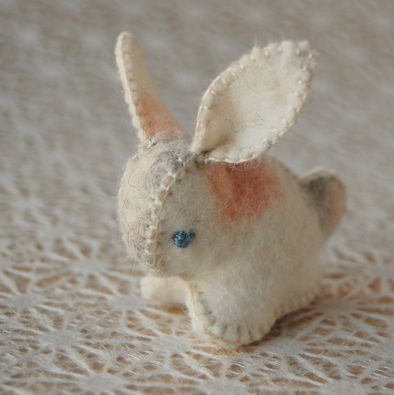 Felt Bunny Rabbit Spotted Toy Light Colors Handmade in Canada OOAK