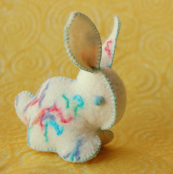 Bunny RABBIT Toy White SPRINKLED FELT Handmade in Canada Unique