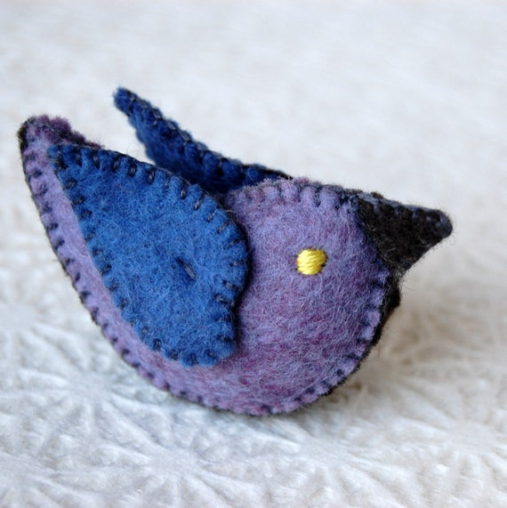 Blue and Purple Felt Love Bird Handmade in Canada Pure Wool OOAK