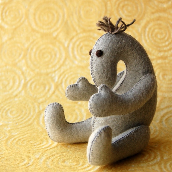 Grey Felted ART DOLL Toy Handmade Pure Wool Felt One of a Kind Soft Sculpture