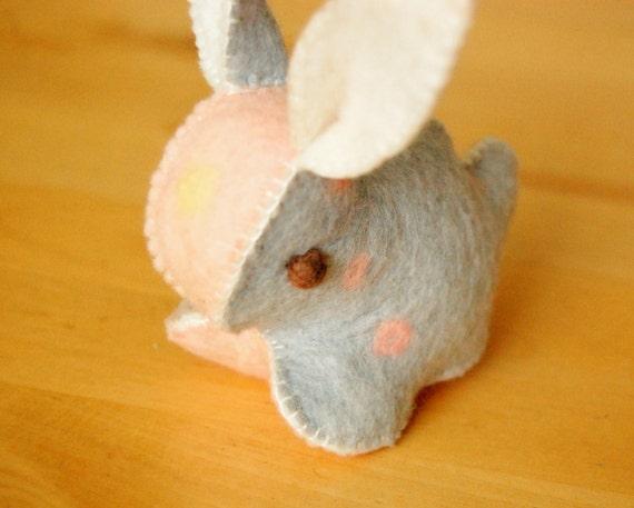 Pink Light Blue and Beige Felt Bunny Rabbit Toy Handmade OOAK