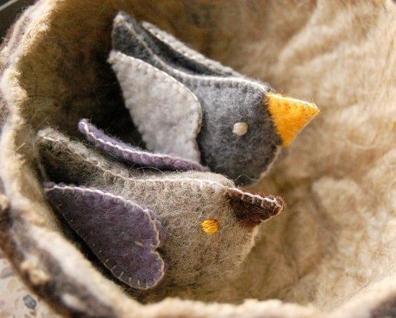 Felt Love Birds Grey Yellow Brown Lavender Pure Wool -- Felt Bird Ornaments for Wedding Gift, Cake Topper, Felt Toys