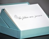 "custom listing for Aida Cintron:  set of 45 ""future mrs."" notecards and envelopes with printed return address"