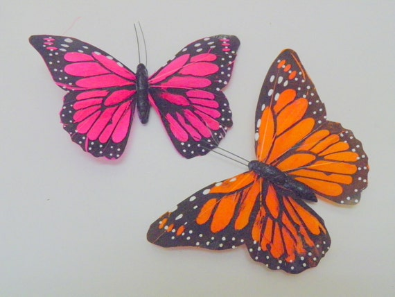 2 pcs, Butterfly Embellishment, Feather, big, 4.5 x 3.5 in, green, yellow, pink, orange