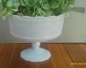 Vintage EO Brody Compote / Milk Glass Pedestal Planter / Wedding Table
