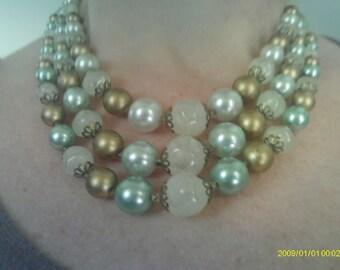 Vintage Necklace Three Strand Beaded