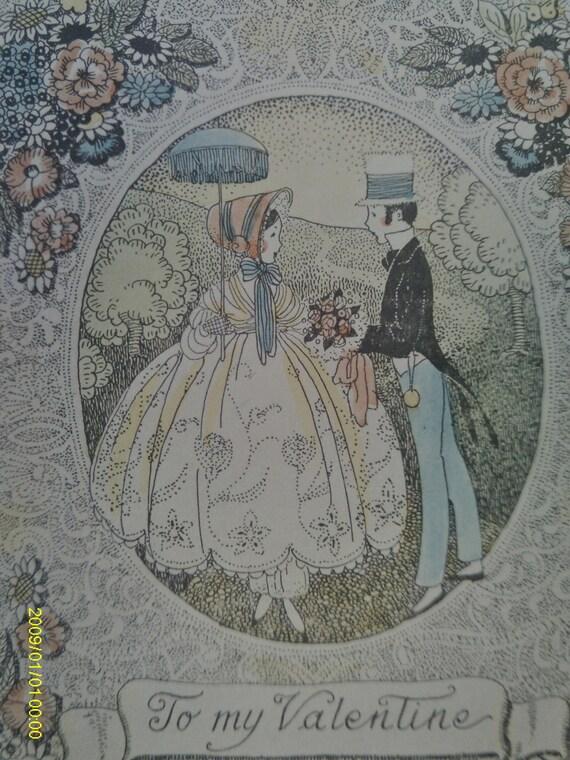 Vintage Valentine Card 1920's / Hand Colored Valentine