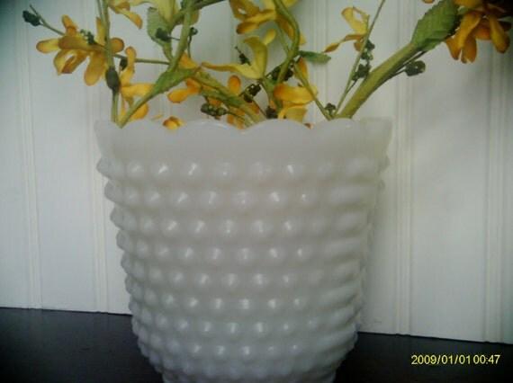Vintage Fire King Hobnail Milkglass Planter