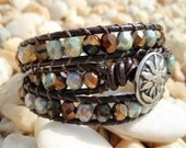 Indian Summer - Turquoise & Bronze leather triple 3x wrap bracelet. rustic blue-green, amber, copper
