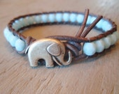 "Elephant leather wrap bracelet, ""Baby Elephant"", powder blue, distressed gray leather, sky blue, lucky charm, boho chic"