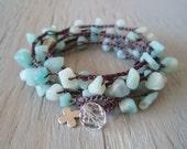"RESERVED for GORDIE Boho beach chic Amazonite crochet wrap ""Surf Angel"", sterling silver cross, necklace / bracelet, sky blue"