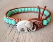 "Elephant turquoise leather wrap bracelet, ""Baby Elephant"",  aqua blue, distressed brown leather, southwestern, good luck charm, lucky boho"