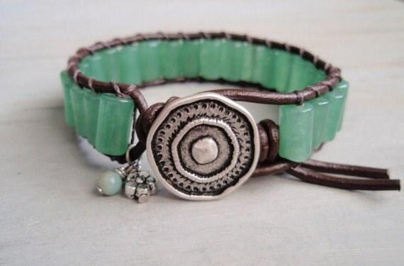 Sea Green Aventurine dark brown leather single wrap bracelet w/ Amazonite & Flower Pewter dangles