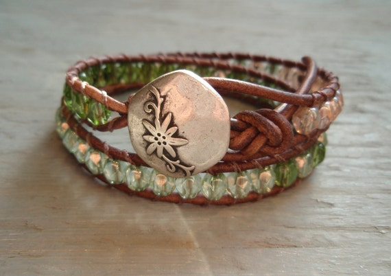 Bohemian Tea Party - distressed brown leather double 2x wrap bracelet. pink, green, shabby romantic boho glam