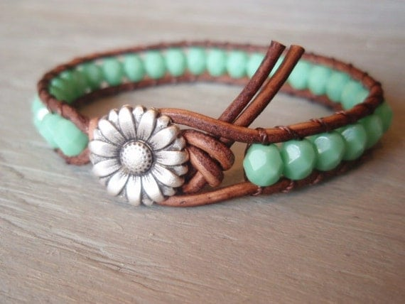 "Boho leather wrap bracelet, ""Country Girl"", Shabby chic, turquoise, silver daisy flower, featured in ETSY FASHION Ultimate Jewelry Guide"