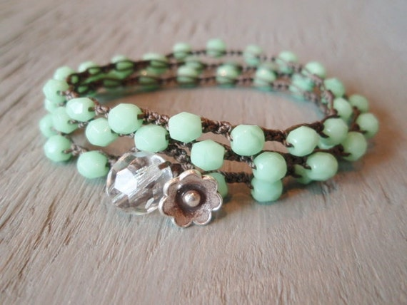 Mint green beaded bohemian crochet wrap bracelet necklace 'Spring Flowers' boho jewelry, minty pastel opal, featured on ETSY's front page