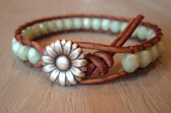 "Boho leather wrap bracelet, ""Country Girl"", Shabby chic, rustic mint green, silver daisy flower, celadon, bohemian chic"