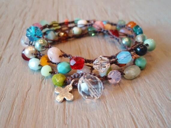 "Colorful crochet 3x wrap bracelet, necklace, 2x anklet ""RainBow Splash"" Multi color, sterling silver charm, colorful, beach boho surfer chic"