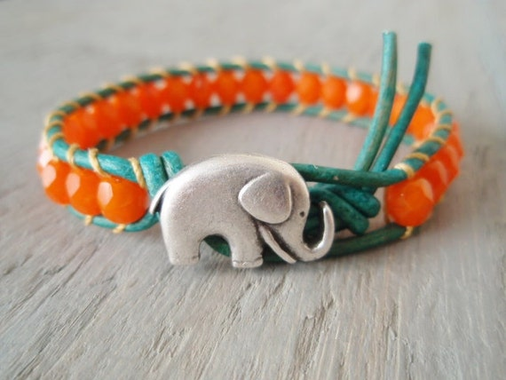 Orange opal 'Miami' leather wrap bracelet -SunKissed Elephant- turquoise, tangerine, lucky good luck charm, colorful summer boho chic