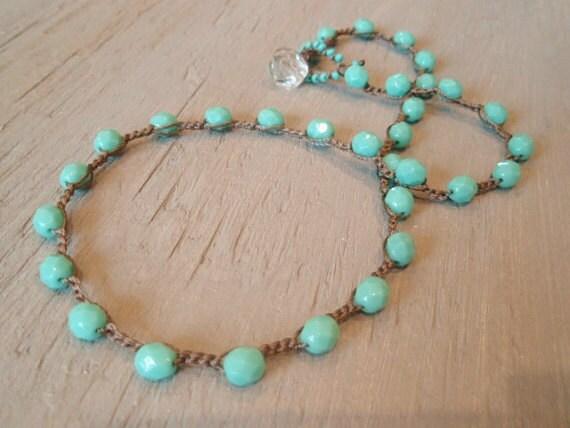 Turquoise crochet boho necklace. Simple, casual crochet bohemian jewelry, aqua blue, southwest style, surfer girl beach chic