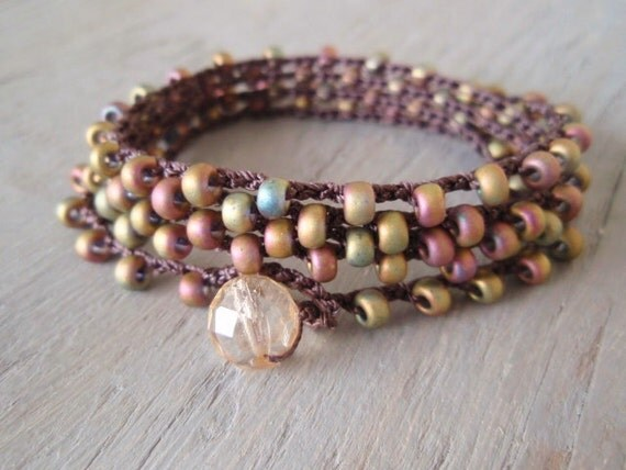 "Beaded crochet wrap necklace bracelet - SunDrops ""Dusk"" iridescent earth tones, olive, rose, earthy bohemian, boho chic"
