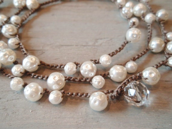 RESERVED for BELINDA- Vintage Pearl crochet necklace wrap bracelet 'Dimples', dimpled faux pearls, ivory white, classic pearls
