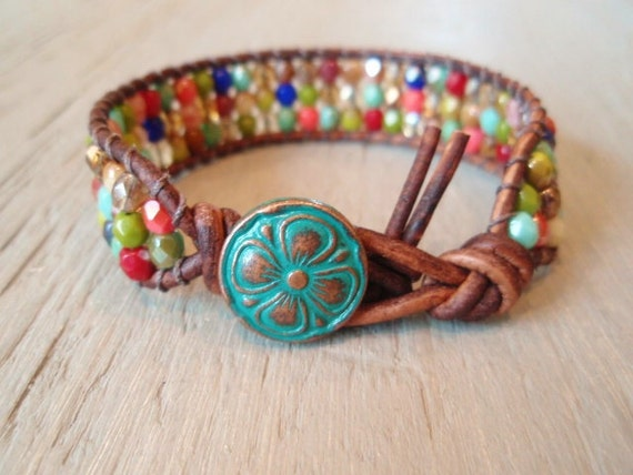 RESERVED for KAY - Multi color beaded leather wrap bracelet 'Autumn Tapestry' colorful, rustic green, luxe bohemian friendship bracelet