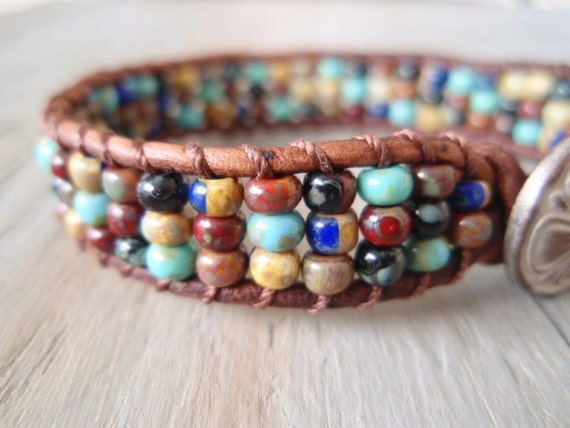Beaded leather bracelet 'Cabo Mosaic', turquoise, brown, clover, distressed leather, bohemian friendship stack bracelet, southwestern