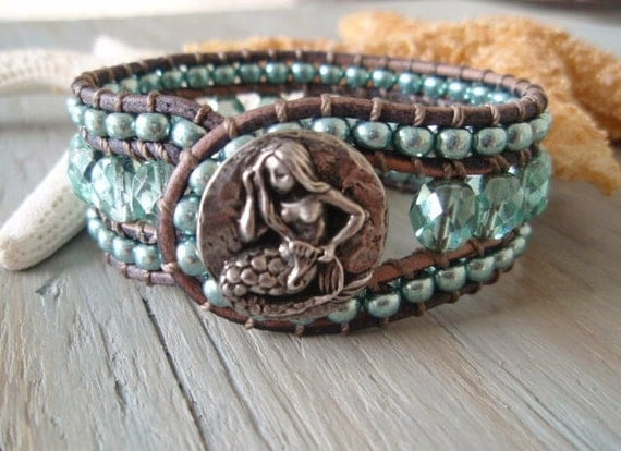 Mermaid leather cuff bracelet 'SeaSparkle Mermaid' slashKnots Summer Cuff - metallic sky blue, aqua blue, surfer girl, luxe beach glam