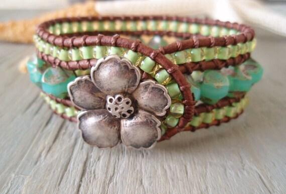 Beachy leather cuff bracelet 'Hawaiian Aloha'  aqua seafoam, lime green, opal glass, hibiscus, luxe tropical boho beach glam