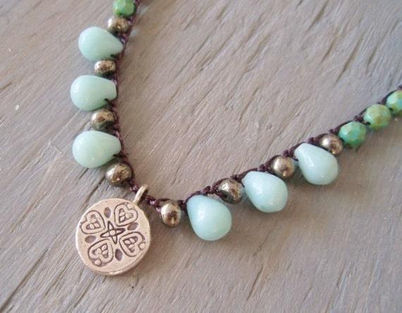 "Bohemian crochet necklace  ""Indian Summer Love"", amazonite, rustic Thai Silver heart charm, Southwestern, tribal bohemian glam"