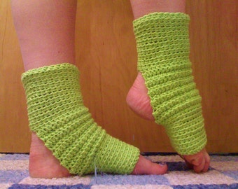 Yoga Socks in Bright Lime Green Cotton -- for Dance, Pilates, Yoga, Pedicures