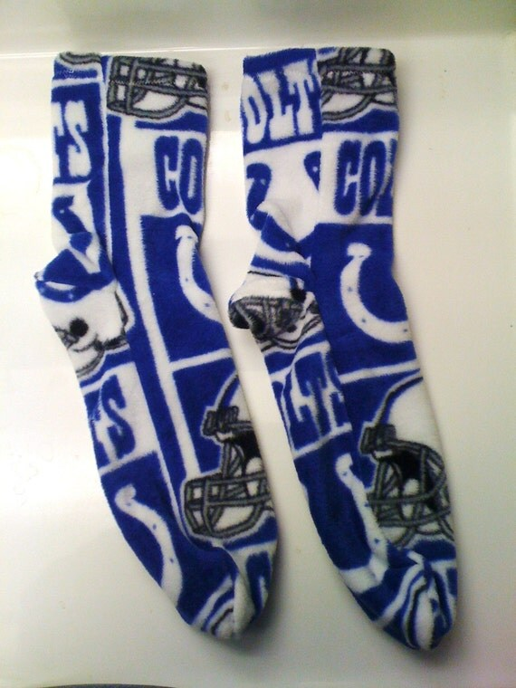 Men's Large Fleece Socks in Indianapolis Colts Print