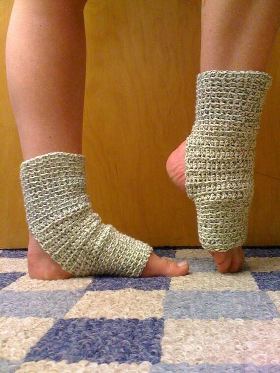 Yoga Socks in Green Twist Cotton US Grown -- For Dance, Pedicures, Pilates, Yoga