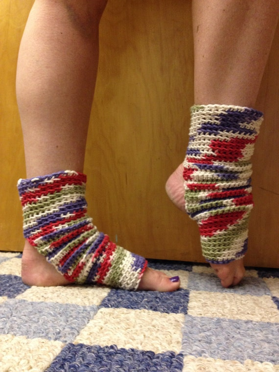 Yoga Socks in Floral  Cotton US Grown Purple Red Green -- for Yoga, Dance, Pilates, Pedicures
