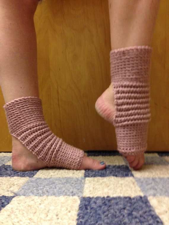 Yoga Socks in Dusty Rose Pink Acrylic -- for Yoga, Dance, Pilates, Pedicures