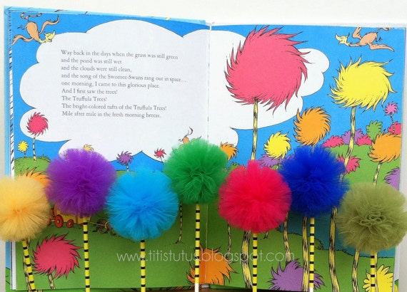 Lorax Inspired Tulle Pom Cupcake Toppers - 1DZ