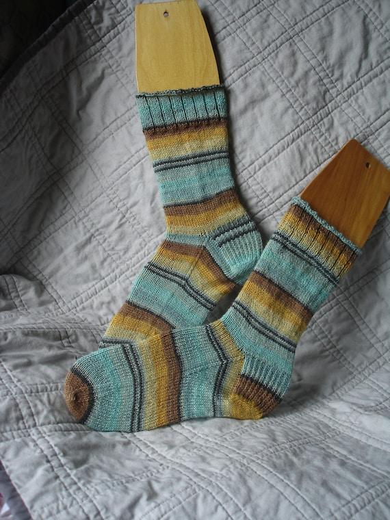 Handknit Stripey Socks - Blue, Yellow, and Brown