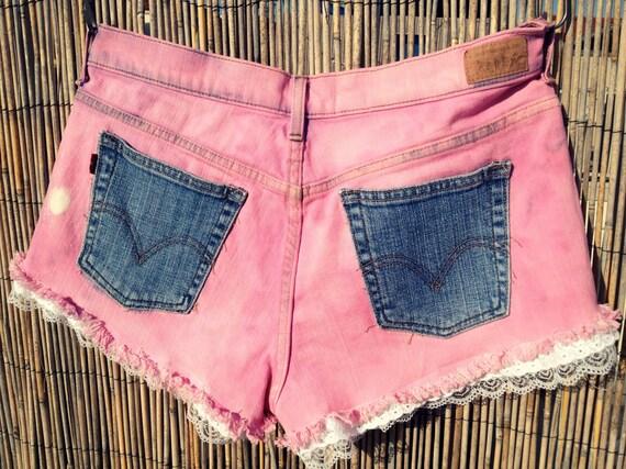 Vintage Levi's Denim Shorts / Tie Dye / Lace SALE