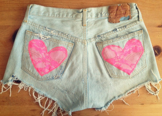 High waist denim shorts, lace heart pockets (Size MEDIUM)