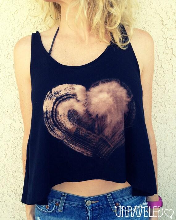 Crop Top Tank, Heart Print, Boho Hippie