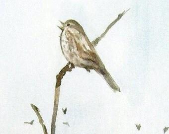 "Fine Art Print of an original watercolor ""Trill Time"""