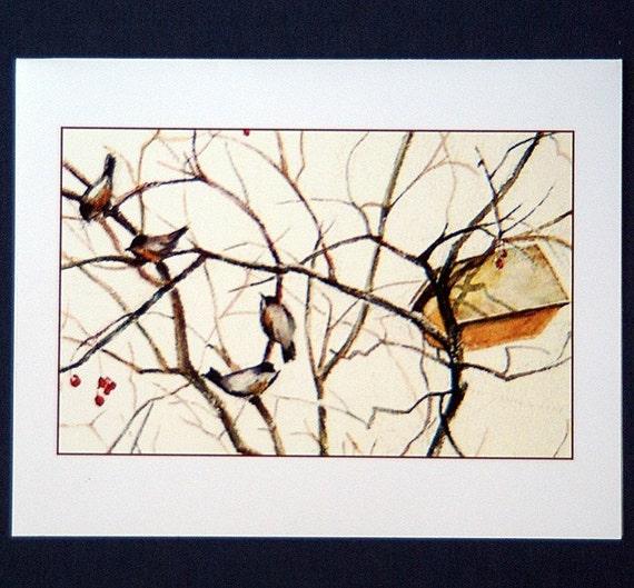 Birds in tree - Set of 5 blank cards
